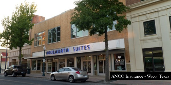 Anco Insurance Waco TX location, Woolworth Suites building